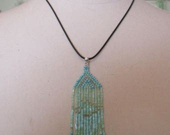 Pendant Cord necklace and child seed beads