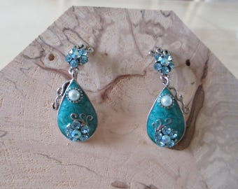 blue turquoise enamel earrings