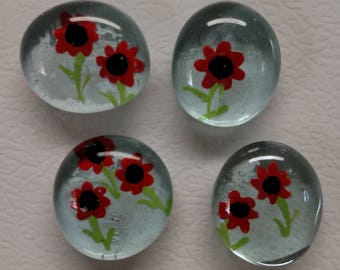 Red Flowers hand painted magnets
