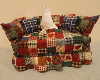 Homestead Patchwork couch tissue box cover.