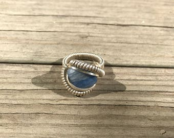 Square Kyanite .925 Sterling Silver Wire Wrap Ring