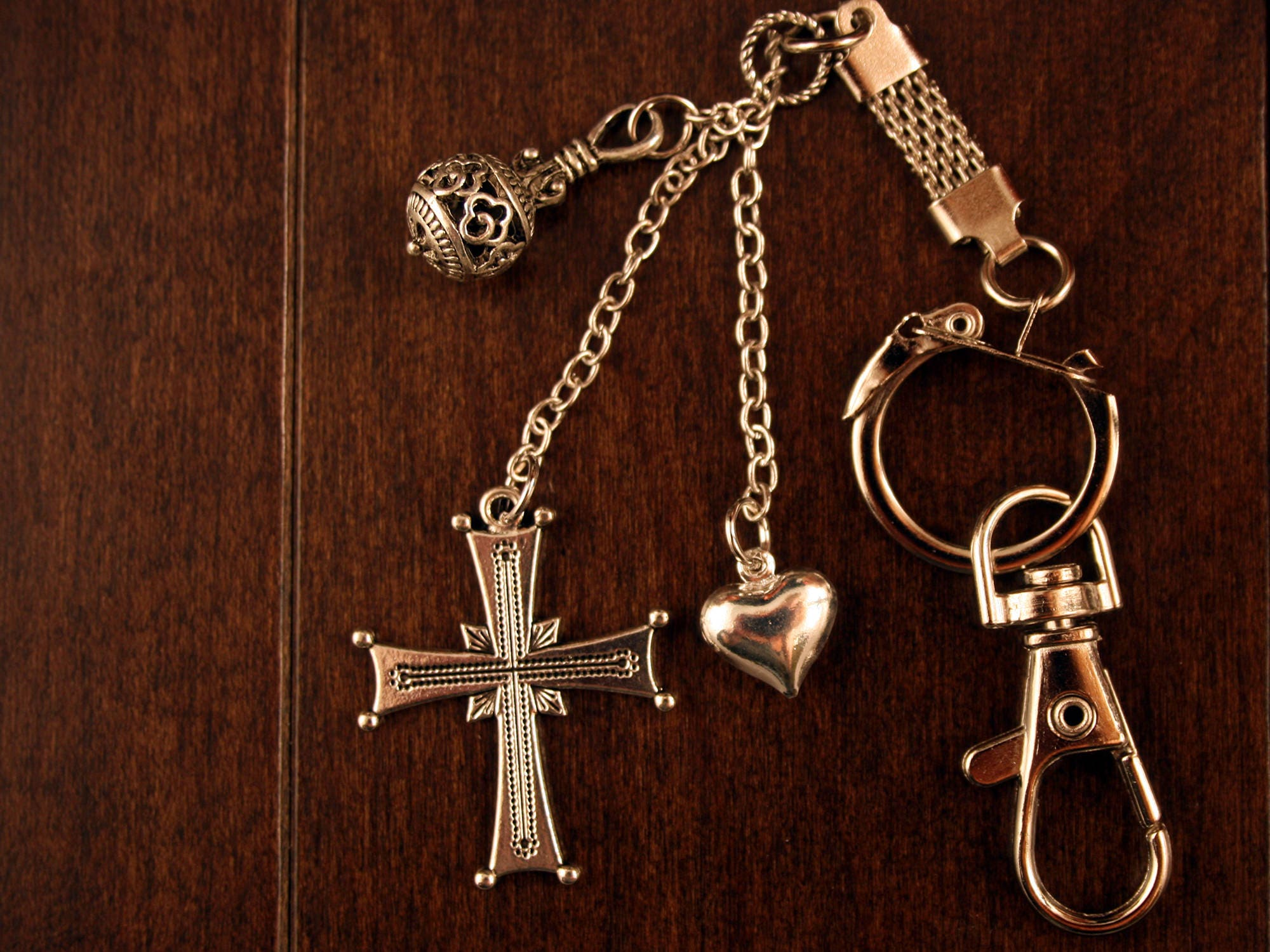Christian Keychain Silver Detailed Cross Service Incense Charm