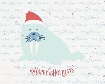 Walrus Christmas Svg Santa hat svg svg Santa christmas svg svg christmas svg christmas svg file design silhouette cricut svg svg files