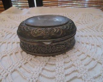 Oval Vintage Metal Felt Lined Trinket Box