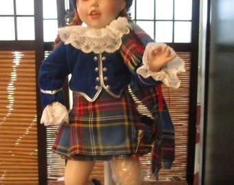 Danbury Mint Porcelain Collectors Doll - Scottish Girl Doll