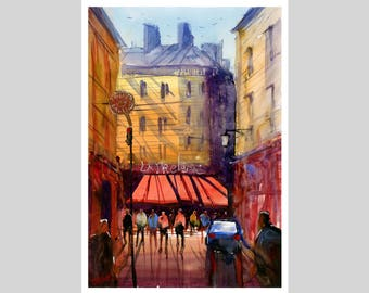 Fine Art Print of My Paris France Watercolour Painting Signed City scape Scene Urban Giclee High Quality Vibrant Impressionist Landscape