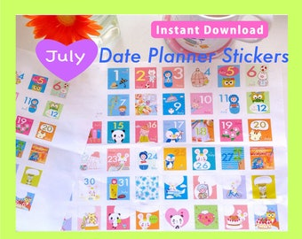 PRINTABLE Date Planner Stickers, JULY