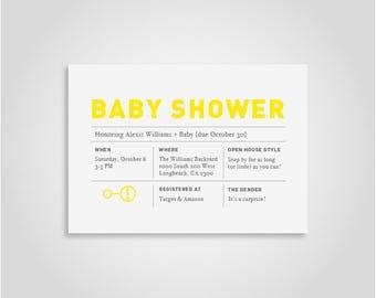 Gender Neutral Surprise Modern Baby Shower Invite Yellow