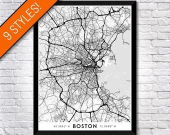 Boston Wall Art boston map with coordinates boston wall art boston map map