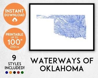 Oklahoma map print, Printable Oklahoma map art, Oklahoma print, USA map, Oklahoma art, Oklahoma poster, Oklahoma wall art, Oklahoma gift