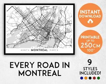 Montreal map print, Montreal print, Montreal city map, Montreal poster, Montreal wall art, Map of Montreal, Montreal art print, Quebec map