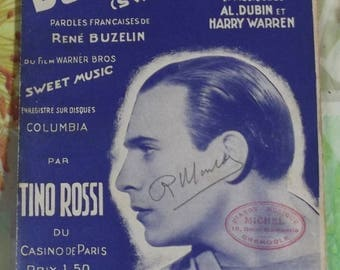 Vintage French song from 1935 Sheet Music - soft Sweet Music performed by Tino Rossi Fox Trot music