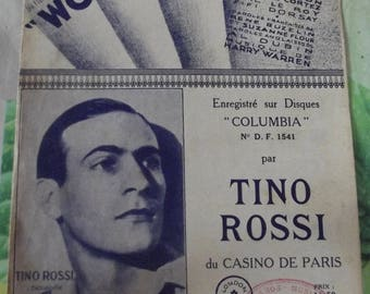 Vintage French 1940 Sheet Music Song - won't you (Don't say Good Night) Wonder Bar by Tino Rossi Paris Casino