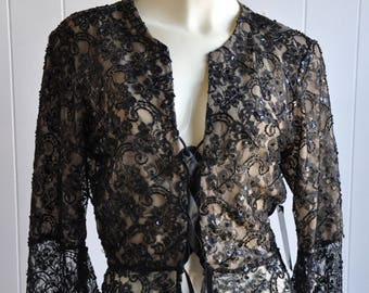 1930s Style Beaded Black Lace-up Cardigan NWT