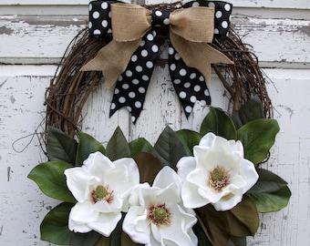 Magnolia Wreath, Southern Wreath, Year Round Wreath, Spring Wreath, Summer Wreath, Door Wreath, Polka Dot Wreath