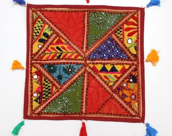 Handmade Hippie Gypsy Home Decor Ethnic Multi color Embroidered Hippy Patchwork Bohemian Pillow Shams Couch Cushion Cover Case G767