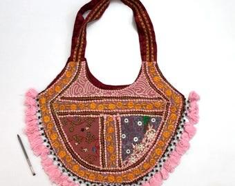 Handmade Ethnic Designer Tribal Banjara Patchwork Embroidered Hippy Fashionable Stylish Trendy Hippie Gypsy Boho Bohemian Shopper Bag F177