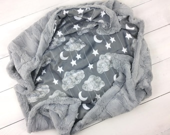 Baby minky blanket, moon stars blanket, cloud blanket, gray white blanket, boy girl blanket, throw blanket, baby shower gift, birth gift