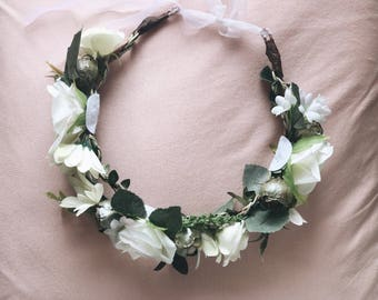 White & Green bridal rustic rose flower crown
