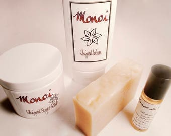 Monoi Gift Set - Tiare, Perfume Oil, Sugar Scrub, Whipped Body Lotion, Cold Process Soap - Bath Set, Gardenia