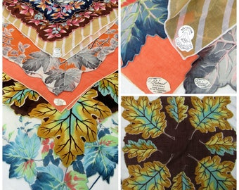 Vintage HANKIES~Lot of 8 Fall Colors Handkerchiefs Wedding Handkerchiefs~NOS Fall Leaves Floral Assorted Hankies~Bridesmaids Curtains Crafts