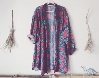 Rose Floral Kimono Robe