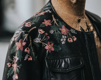 Hand-Painted Vintage Leather Jacket with Florals