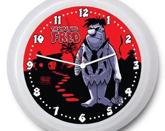 """9 inch Zombie Wall Clock - """"The Walking Fred - w/Fred Flintstone - FREE """"AA"""" Battery!"""