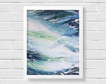 Ocean Print, Boho Art, Wave Painting, Beach Print, Boho Decor, Hipster Gift, Secret Santa, Bohemian Print, Ocean Painting, Minimalist Decor