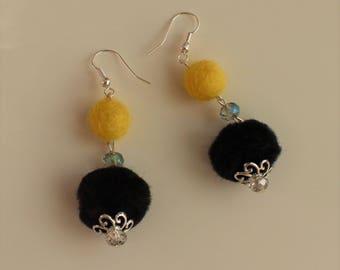 Handmade Black & Yellow pompom Earrings, boho, hippie