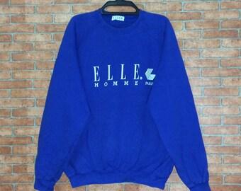 Rare!!! Vintage ELLE homme paris Spellout Big Logo Sweatshirt Pullovers Crewneck Vtg ELLE Sport Jacket size M