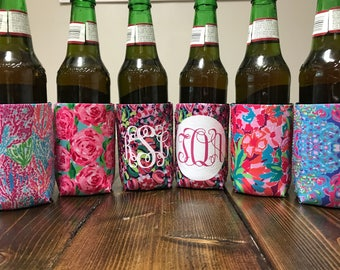 Lilly Inspired Monogrammed Can Cooler