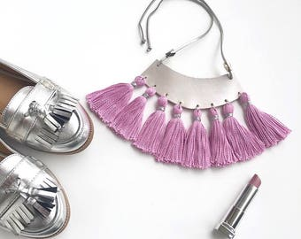 Tassel Necklace, Boho style with silver leather pendant. One of a kind!