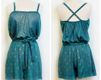 Ceeb of Miami Teal and Gold Swimsuit/Playsuit