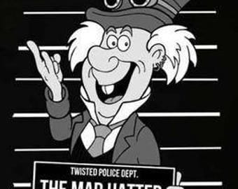 The mad hatter alice in wonderland mugshot shirt
