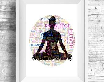 Yoga Wall Art, Yoga Artwork Posters, Yoga Art for Friend, Yoga Quotes Wall Art, Yoga Studio Decor, Zen Wall Print,  Yoga Art for Bedroom