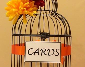 Large Customizable Black Bird Cage Wedding Card Holder, Card Box, Large Birdcage, Birdcage Card Holder, Orange, Yellow, Blush,Burgundy