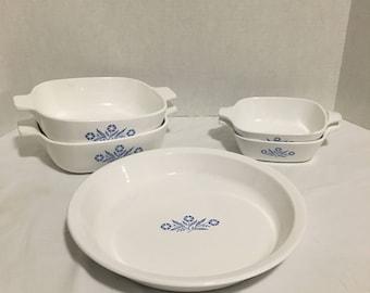 Vintage 5 Piece Set of Corningware Blue Cornflower Casserole and Pie Pan Set 2 small casserole dishes 2 medium and 1 Pie Pan  lot 576