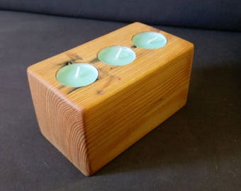 Pallet block tealight holder