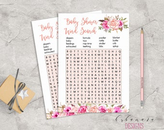 Baby Shower Word Search Game Game Pink Floral Baby Game Trivia Pink Roses Baby Shower Search Card Digital Printable Baby Activity - CG017