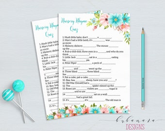 Mint Nursery Rhyme Baby Shower Game Floral Mint Coral Baby Shower Activity Digital Shower Card Printable Baby Shower Flowers Card - CG011