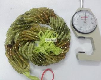13 Inch Grossular Garnet Faceted Rondelle Beads Strand 100% Natural Green Garnet Beads - Shaded Garnet Rondelle Faceted Garnet Beads Strand