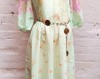 70s floral maxi dress. UK size 12