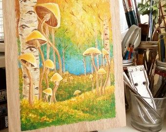 Golden Caps - Psilocybin Cubensis - Euphoric Forest - Original Painting