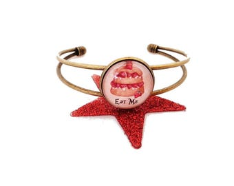 SALE 50% Bracelet Bangle Alice - Eat me!