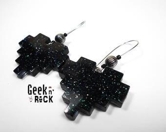Geeky black glitter pixel heart earrings