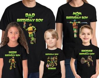 Teenage Mutant Ninja Turtles Shirt Custom Name & Age  Personalized Teenage Mutant Ninja Turtle Birthday Shirt Family Birthday Shirts