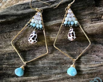 "Hebrew Cone shell and Larimar Earrings ""Kai Krystals"""