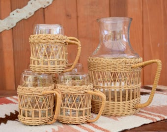 Vintage wicker glasses and pitcher set; Set of 8 glasses and decanter with wicker holders