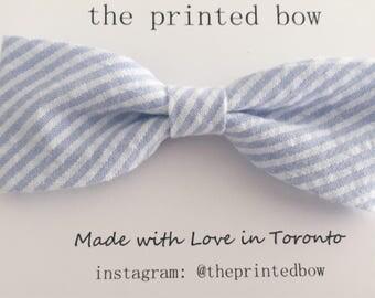 Baby Blue stripe Bow headband